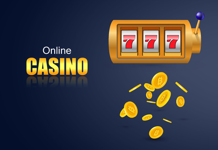 Online casino lettering, slot machine and flying golden coins. Casino business advertising design. For posters, banners, leaflets and brochures.