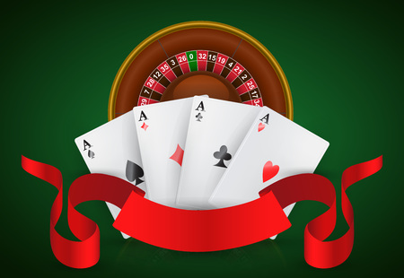 Casino roulette, four aces and red ribbon. Casino business advertising design. For posters, banners, leaflets and brochures.
