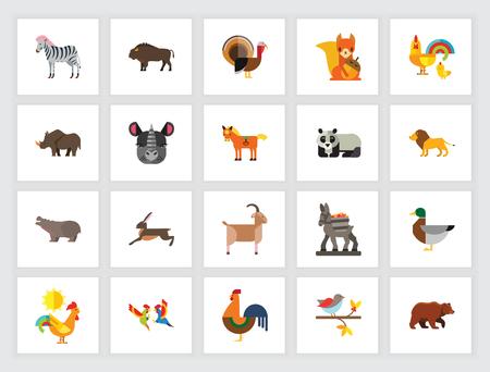 Animal species concept. Flat icon set. Zoo, domestic animals, wild ...