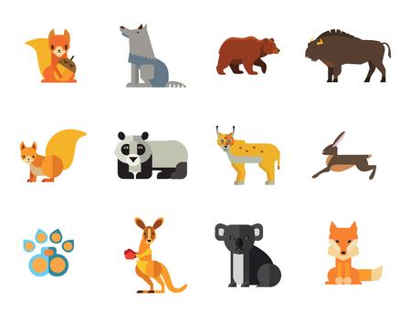 Illustration for Wild Animals Icon Set. Bear Paw Trace Koala Hare Lynx Fox Squirrel Panda Squirrel With Nut Kangaroo Wolf Wisent - Royalty Free Image