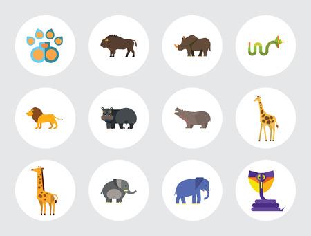 Ilustración de African Animals Icon Set. Paw Trace Zebra Lion Rhinoceros Cobra Hippopotamus Big Elephant Ox Giraffe Fat Elephant Crying Hippo Angry Cobra Young Giraffe - Imagen libre de derechos