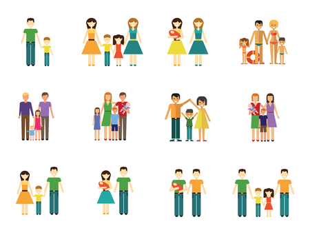 Illustration pour Family Icon Set. Couple With Baby Family With Children Man and Woman With Child Happy Woman and Man Gay Couple With Baby Non-traditional Family Father And Son Mother And Daughter People On Beach - image libre de droit