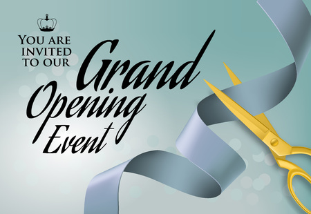 Grand opening event lettering with cutting scissors. Blue background with swirl ribbon. Illustration with lettering can be used for invitation cards, layout, posters and leaflets