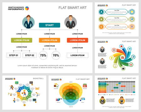 Illustration pour Colorful basketball or finance concept infographic charts set. Business design elements for presentation slide templates. Can be used for annual report, advertising, flyer layout and banner design. - image libre de droit