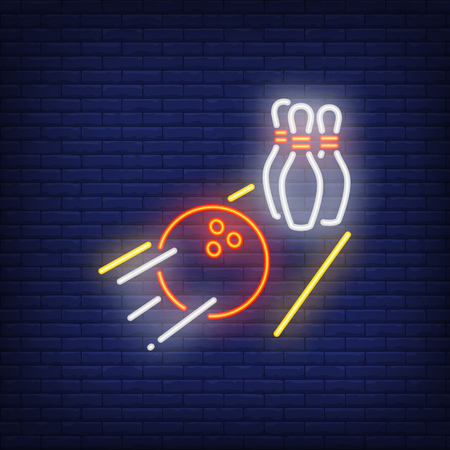 Illustration for Bowling ball rolling on alley neon sign. Heavy ball throwing pins. Night bright advertisement. Vector illustration in neon style for game and entertainment - Royalty Free Image