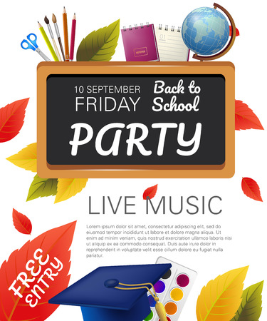 Free entry, back to school party flyer design with globe, graduation