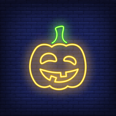 Carved pumpkin neon icon. Terrifying grimly smiling Halloween character. Halloween concept. Vector illustration can be used for street wall signs, all Hallows day, party announcements.