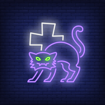 Halloween cat neon icon. Spooky character cross shape on brick wall background. All Hallows eve concept. Vector illustration can be used for street wall signs, party announcements, celebration design