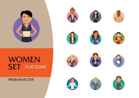 Illustration for Women vector icon set. Doctor, excited, drinking, in glasses, Indian. Characters concept. Can be used for topics like occupation, race, activity, look, emotion - Royalty Free Image