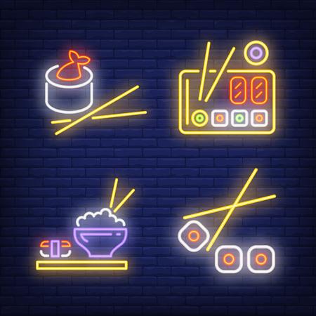 Sushi rolls and chopsticks neon signs set  Food, restaurant