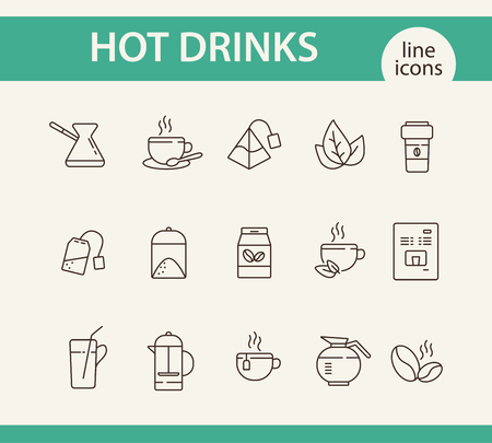 Illustration for Hot drinks line icon set. Mug, paper cup, tea bag, pot, coffee. Drink concept. Can be used for topics like coffee shop, cafe menu, healthy lifestyle - Royalty Free Image