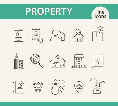 Property line icon set. House, garage, apartment, floor plan ...