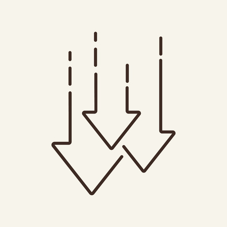 Illustration pour Decrease line icon. Arrows down, graph, falling. Trade concept. Vector illustration can be used for topics like for stock market, economy, crisis, loss - image libre de droit