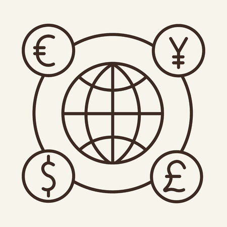 Global markets line icon. Capital market, world currency, foreign trade. Global concept. Vector illustration can be used for topics like business, finance, commerce