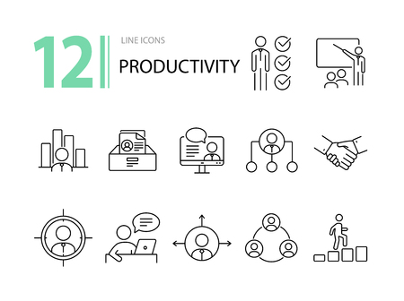 Illustration pour Productivity icons. Line icons collection on white background. Goal, victory, working hours. Management concept. Vector illustration can be used for topics like business, career, teamwork - image libre de droit