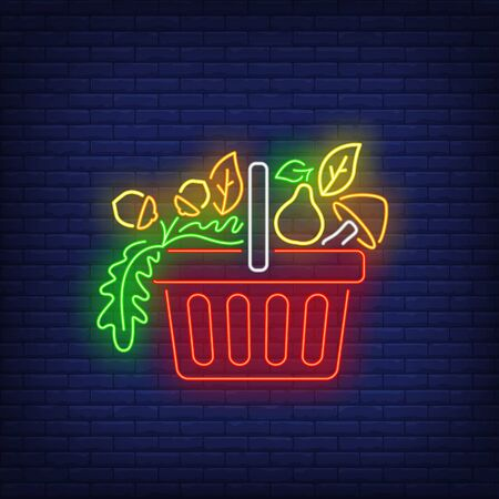 Illustration for Pear, mushroom and hazelnuts in shopping basket neon sign. Buying, purchase, sale design. Night bright neon sign, colorful billboard, light banner. Vector illustration in neon style. - Royalty Free Image