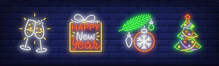Illustration for Happy New Year neon sign set. Glasses with champagne, Christmas tree, baubles. Night bright advertisement. Vector illustration in neon style for banner, billboard - Royalty Free Image