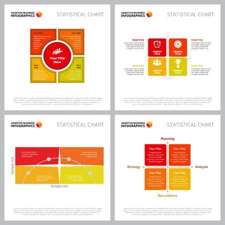 Illustration pour Creative infographic composition collection can be used for web design, presentation slide, workflow. Business concept with matrix charts - image libre de droit