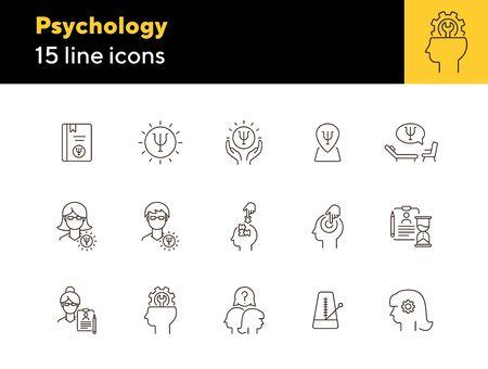 Ilustración de Psychology line icon set. Man, woman, head, gear. Mental science concept. Can be used for topics like psychoanalysis, mental therapy, brain work - Imagen libre de derechos
