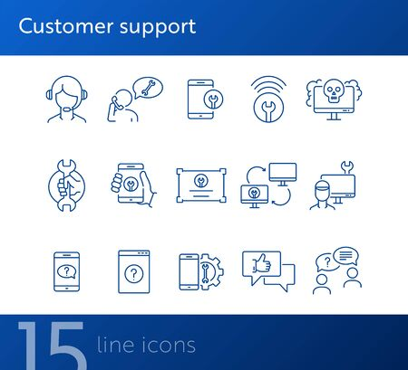 Illustration pour Customer support line icon set. Operator, technical help, computer, smartphone. Digital gadgets concept. Can be used for topics like online consulting, call center, service - image libre de droit