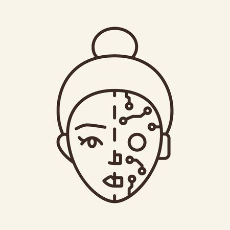 Robot mask thin line icon. Female face, circuit board, microchip isolated outline sign. Artificial intelligence concept. Vector illustration symbol element for web design and apps