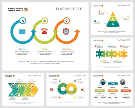 Illustration pour Colorful startup and management infographic charts set. Business design elements for presentation slide templates. Consulting concept can be used for annual report, flyer layout and banner design. - image libre de droit