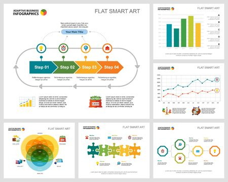 Illustration for Colorful banking or planning concept infographic charts set. Business design elements for presentation slide templates. Can be used for financial report, workflow layout and brochure design. - Royalty Free Image
