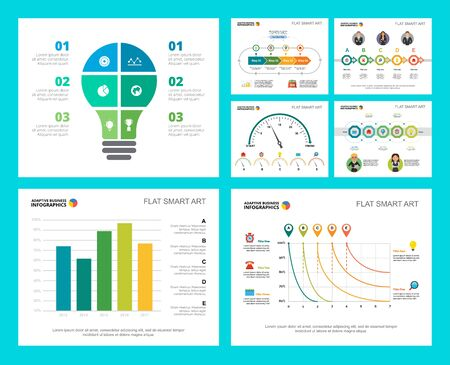Illustration for Colorful research or management concept infographic charts set. Business design elements for presentation slide templates. Can be used for financial report, workflow layout and brochure design. - Royalty Free Image