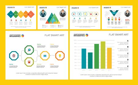 Illustration pour Colorful finance or research concept infographic charts set. Business design elements for presentation slide templates. Can be used for financial report, workflow layout and brochure design. - image libre de droit