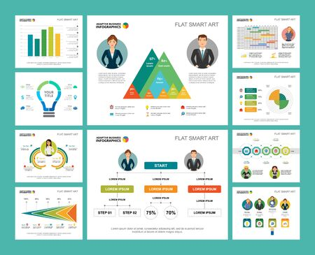 Illustration for Colorful research or statistics concept infographic charts set. Business design elements for presentation slide templates. Can be used for financial report, workflow layout and brochure design. - Royalty Free Image