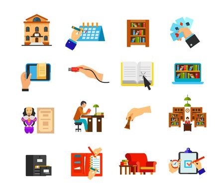 Foto de Library icon set. Library building Schedule Bookcase Playing cards E-book Usb plug insert Online material Digital library Shakespeare Student Chess Librarian Catalog Organizer Couch Deadline time - Imagen libre de derechos