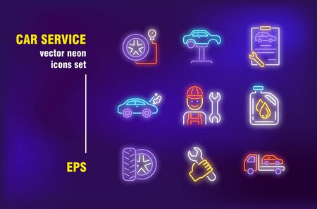 Illustration pour Car repair neon signs set. Garage, mechanic, tool, spanner, tire, tow truck. Night bright advertising. Vector illustration in neon style for roadside service billboard, banners, signboards - image libre de droit