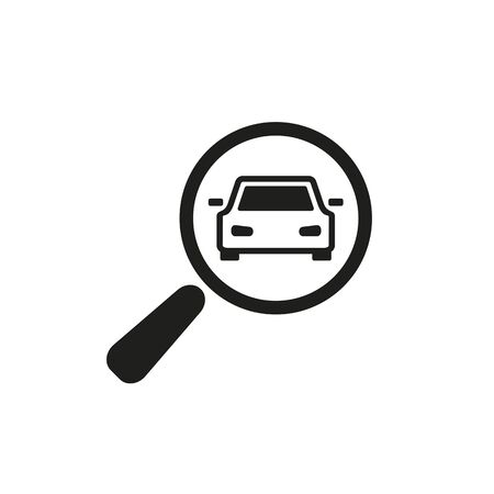 Photo pour Simple icon of car with magnifying glass. Choosing car, auto inspection, auto service. Auto concept. Can be used for topics like service, automobiles, transport - image libre de droit