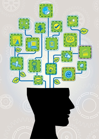 head with ecological technology tree