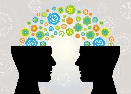 Illustration pour head think communication  - image libre de droit