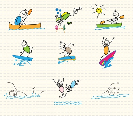 water sports vector doodle