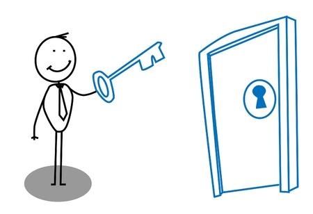 Illustration pour Man key door - image libre de droit