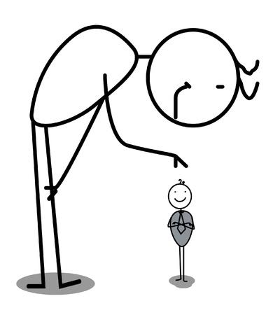 Illustration pour Big Businessman care small Businessman vector  - image libre de droit