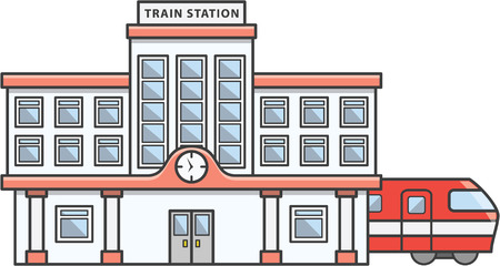 Illustration pour Train station Doodle Illustration cartoon - image libre de droit