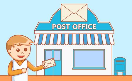Illustration pour Post Office departement  doodle illustration - image libre de droit