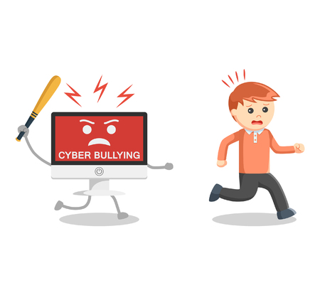 Illustration pour Man run away from cyber bullying - image libre de droit