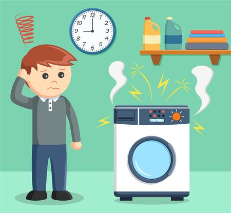 A man was sad because her washing machine broke