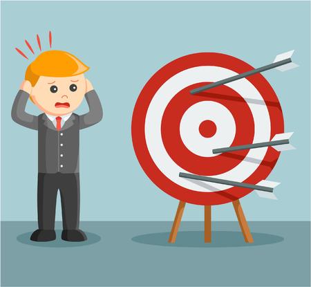 Illustration pour businessman panic miss target - image libre de droit