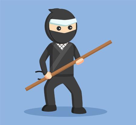 ninja holding stick vector illustration design
