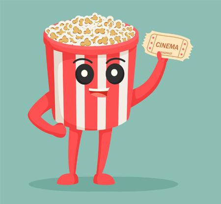 Illustration pour popcorn character with cinema ticket - image libre de droit
