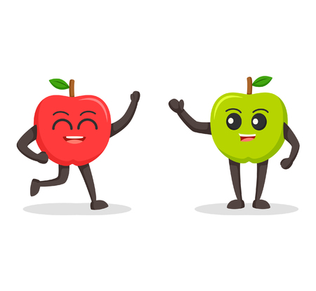 red apple character meet green apple character