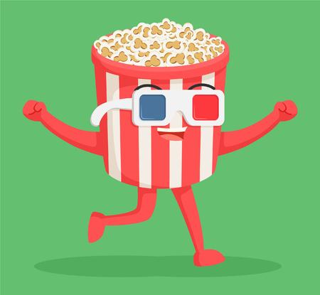 Illustration pour popcorn character wearing 3d glasses - image libre de droit