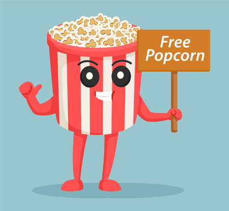 Illustration pour popcorn character with free popcorn sign - image libre de droit