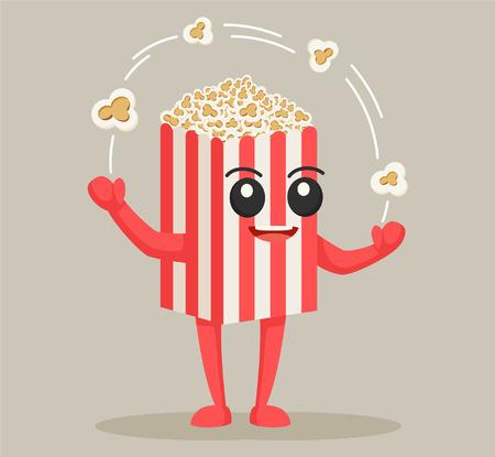 Illustration pour popcorn character juggling flake - image libre de droit