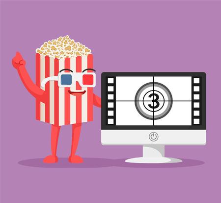 Illustration pour popcorn character with pc movie - image libre de droit